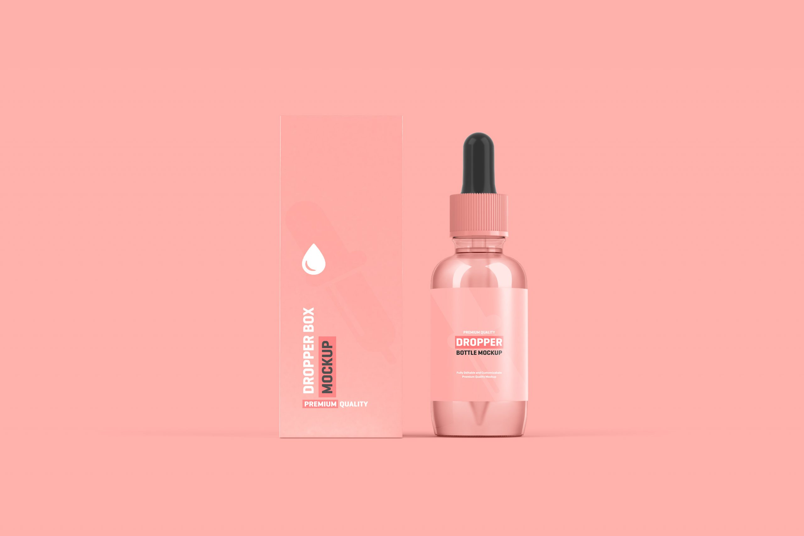 Free Dropper Bottle Packaging Mockup