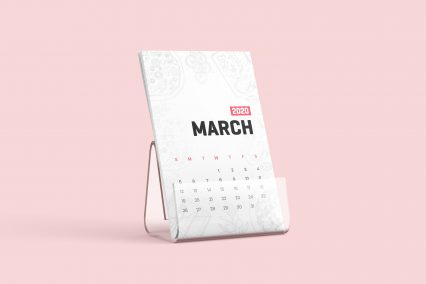 Free Desk Calendar With Stand Mockup