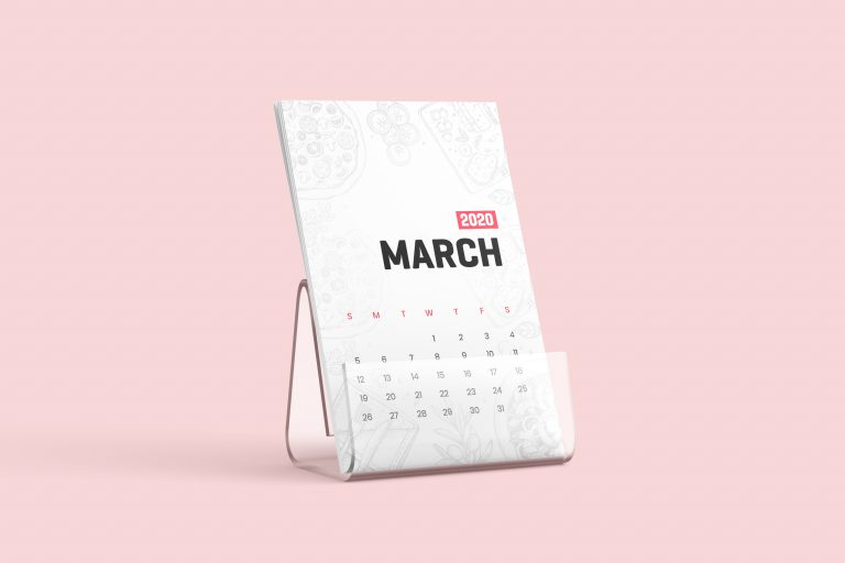 Free Desk Calendar With Stand Mockup