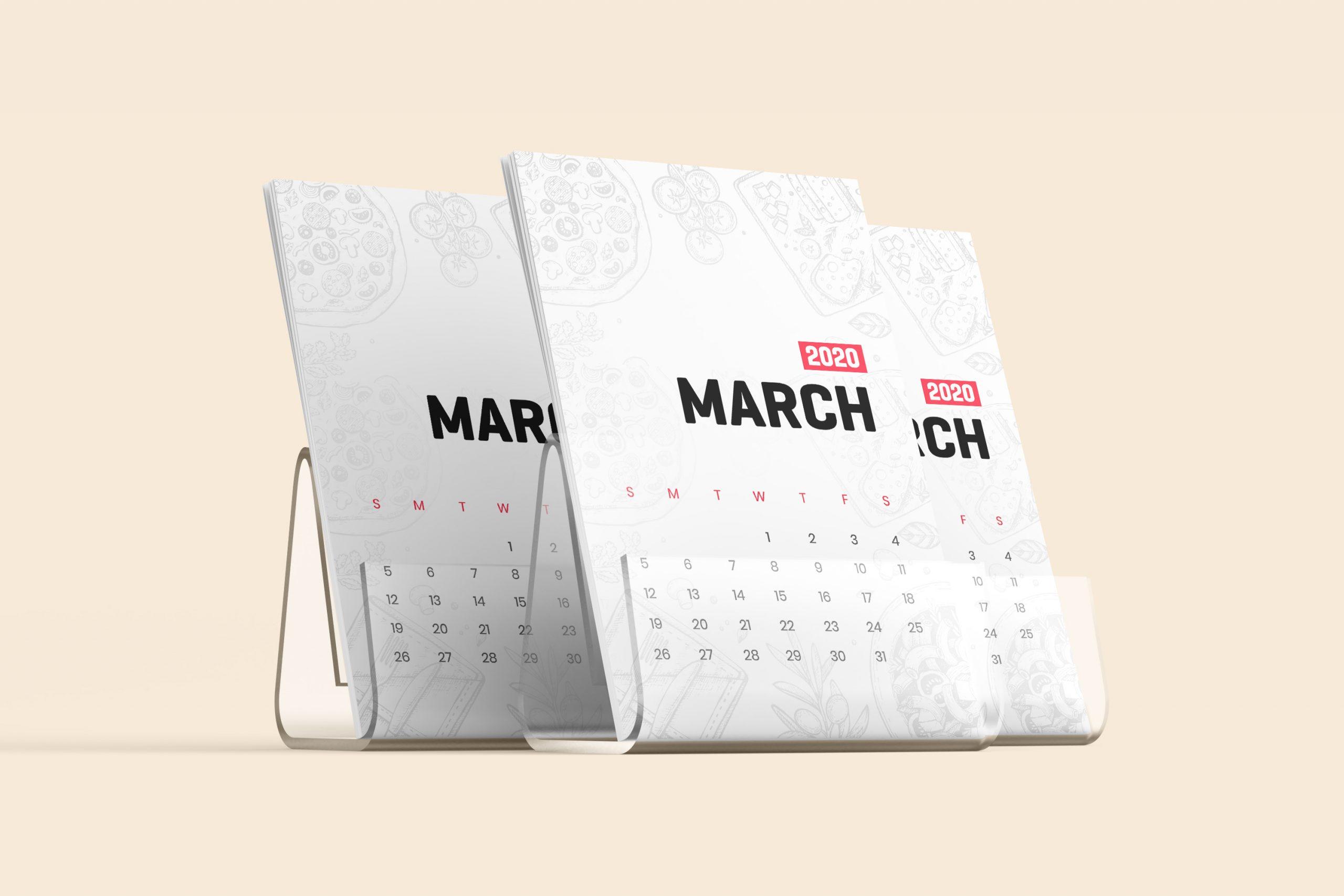 Desk Calendar With Stand Mockup