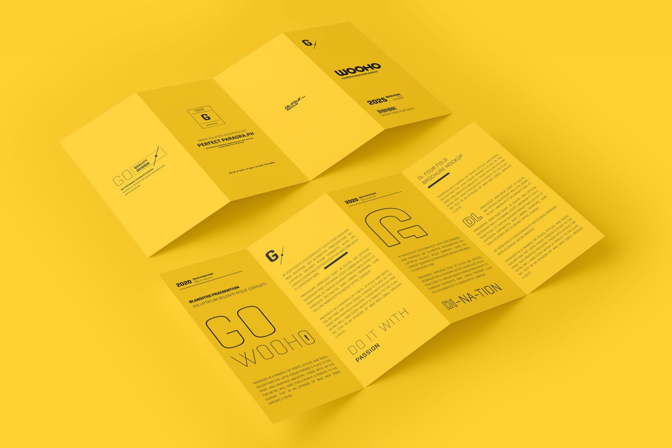 DL 4 Fold Brochure Mockup