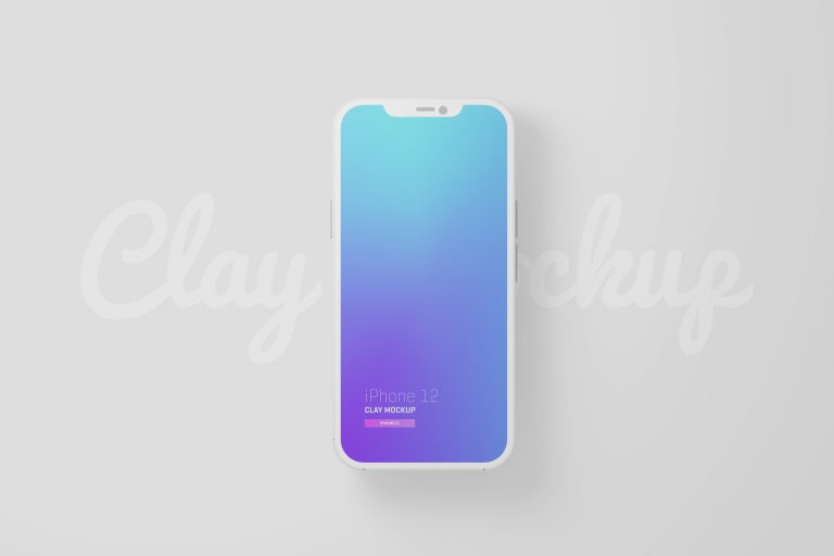 Free iPhone 12 Minimal Clay Mockup