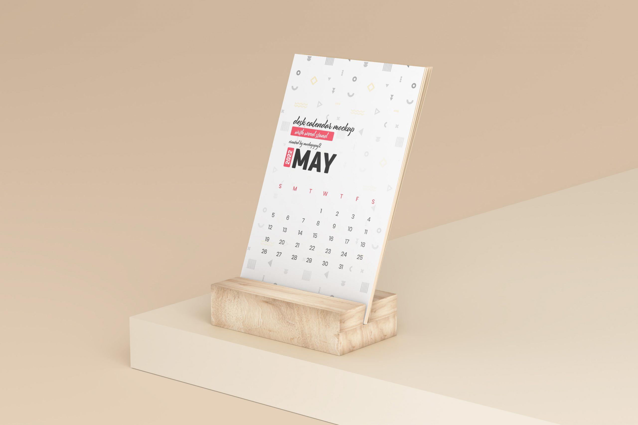 Desk Calendar With Wood Stand Mockup