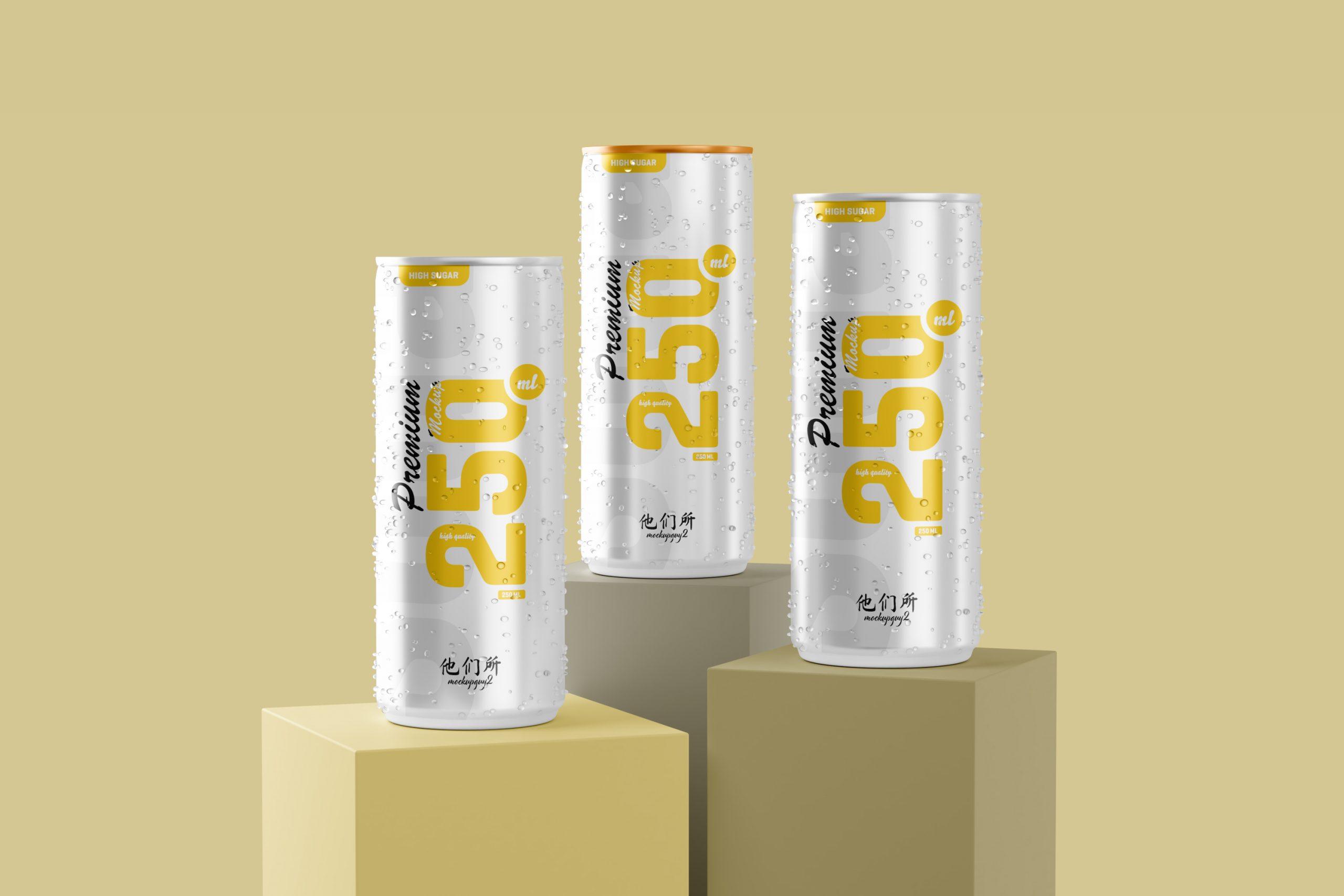 250ml Soda Can Mockup