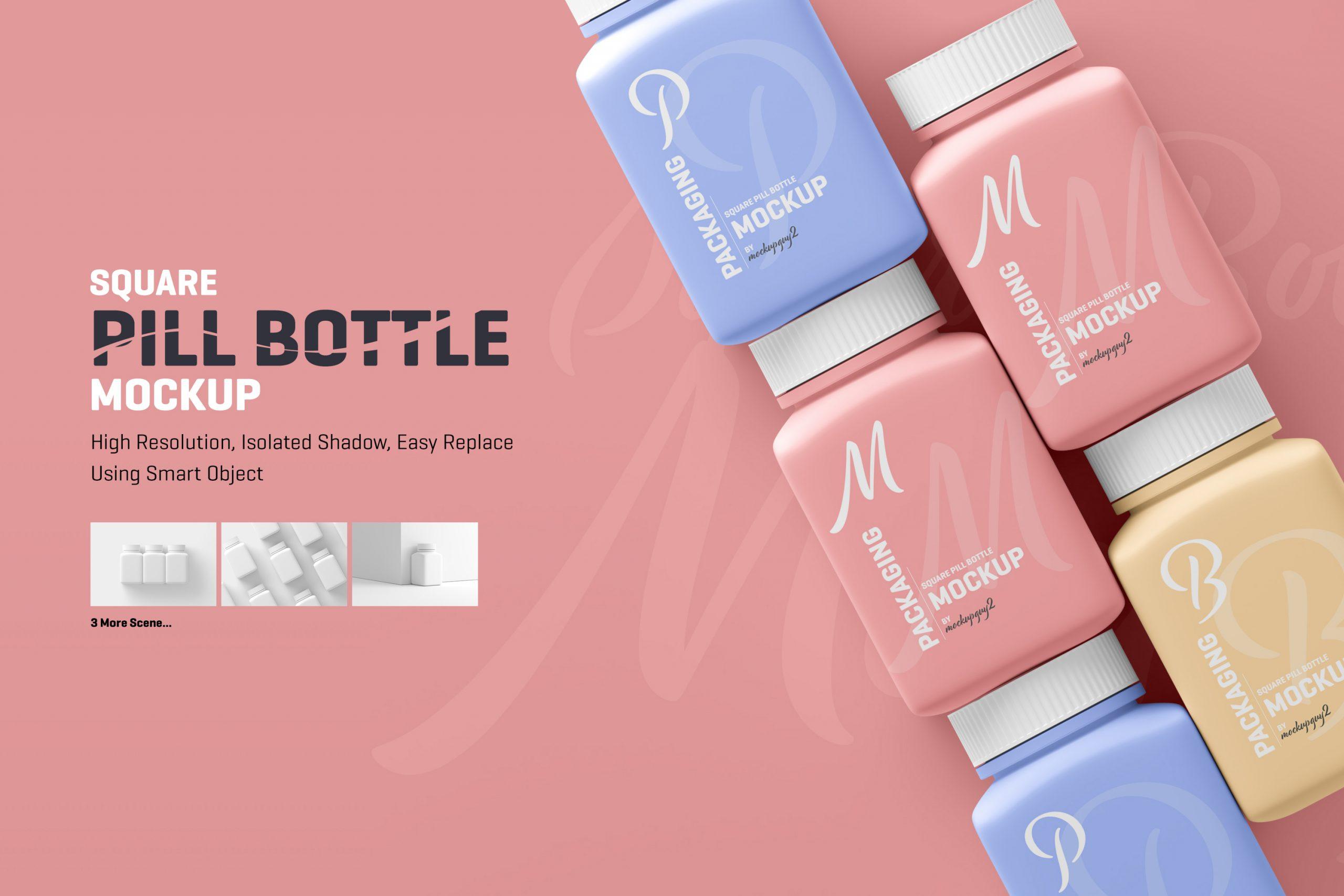 Square Pill Bottle Mockup