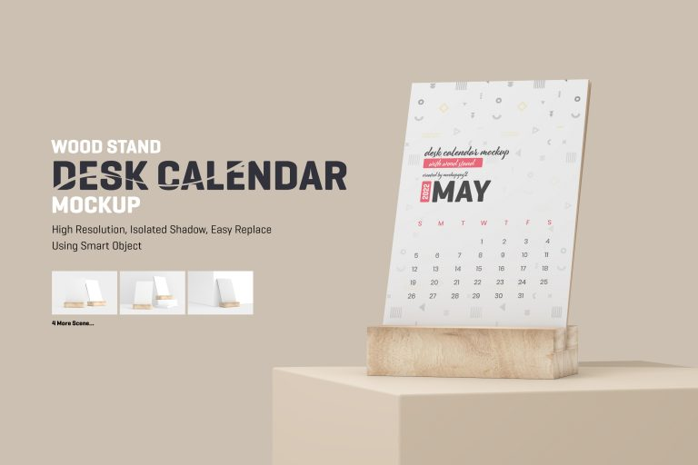 Desk Calendar With Wood Stand Mockup