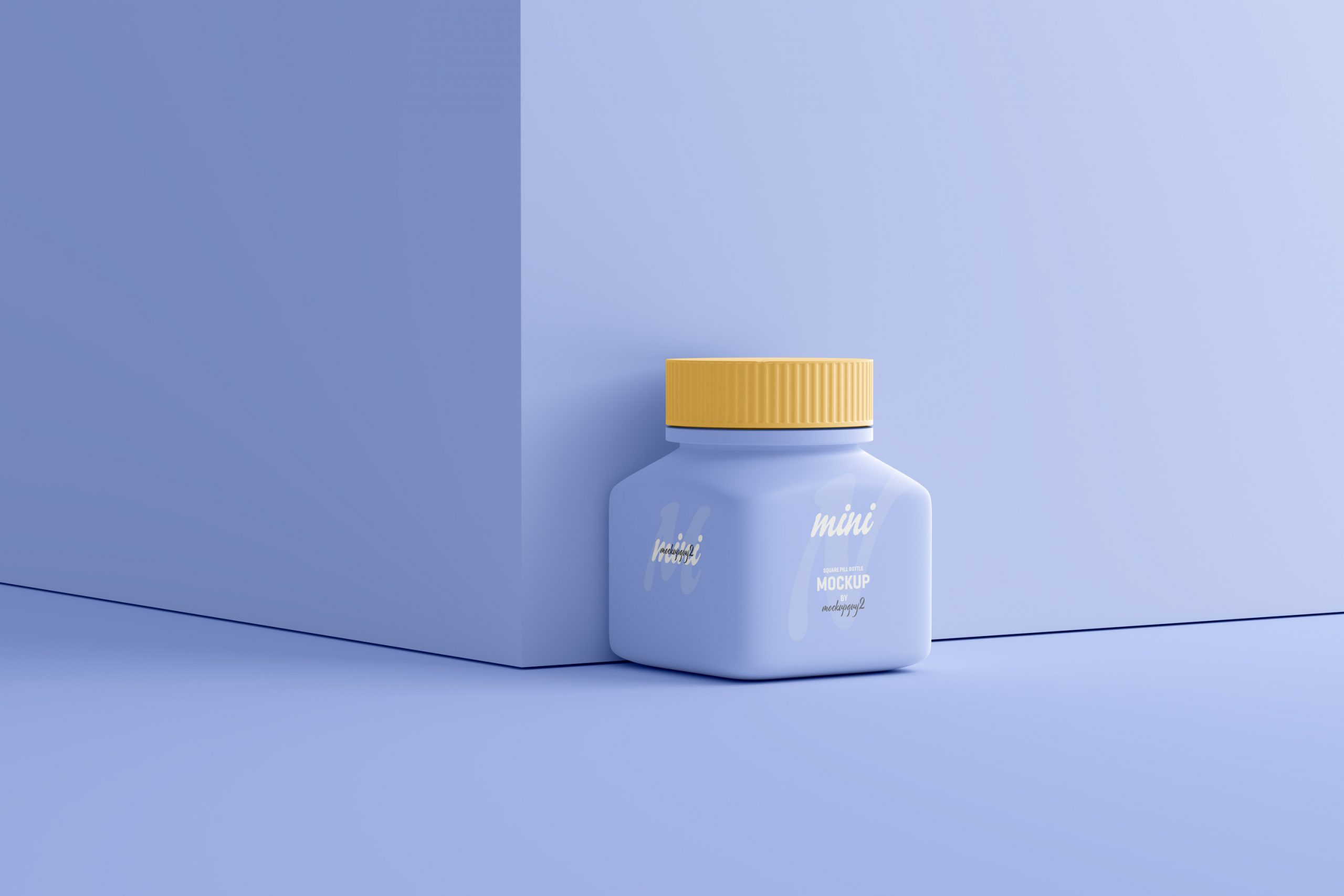 Small Square Pill Bottle Mockup