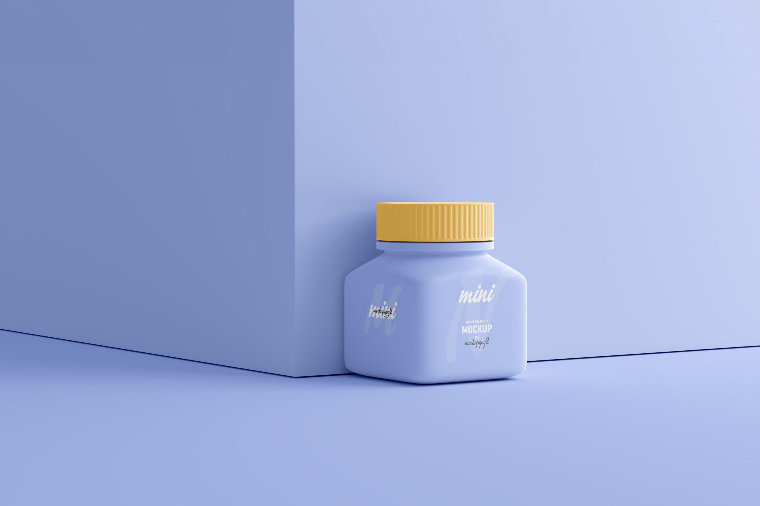 Small Square Pill Bottle Mockup
