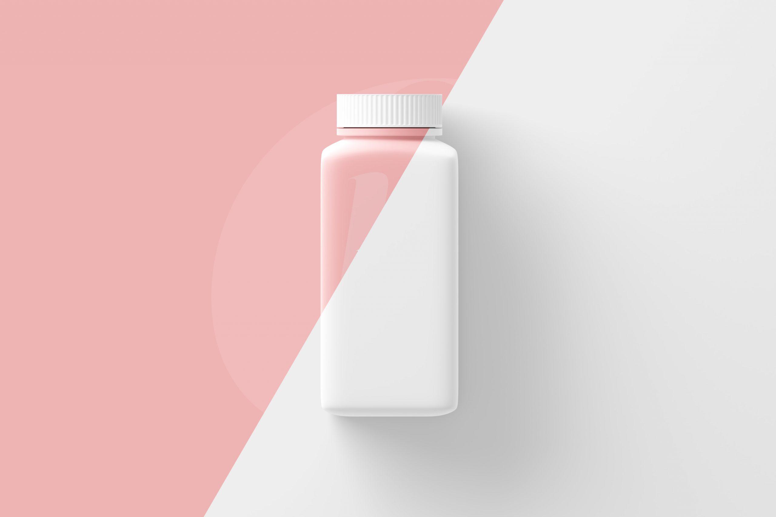 Long Square Pill Bottle Mockup