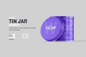 Small Tin Jar Packaging Mockup